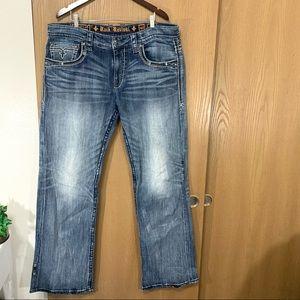 ROCK REVIVAL Ewald Boot Men's 5 Pocket Jeans Blue
